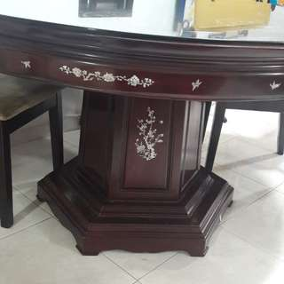 Mother of Pearl Rose Wood Antique Dining Table