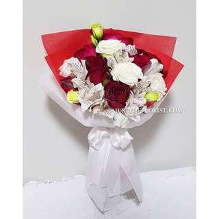 Red white bouquet design
