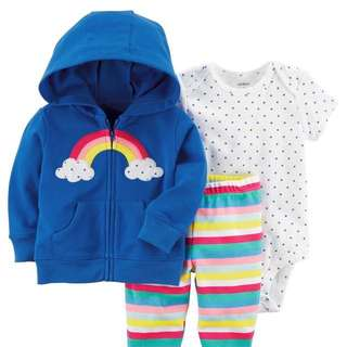 Carter's 3 Piece Rainbow Hoodie Jacket Romper set