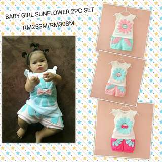 👉BABY GIRL SUNFLOWER 2 PCS SET👈