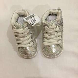 New Next U.K. high cut sneakers glittery 3-6m