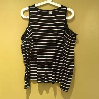 H&M - black stripes cold shoulder top