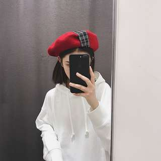 RED GINGHAM CHECK PLAID BERET