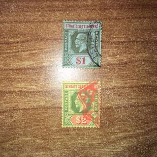 Straits settlements King George V KGV 1$ And 2$ used stamps Malaya free shipping
