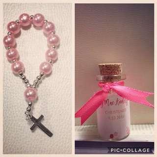 mini rosary in cork bottle gor baptismal or give aways