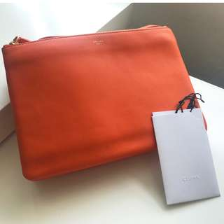 【Celine】Trio Bag Large (25cm) Orange Pouch Clutch