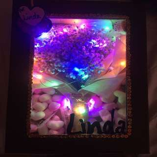 Light up fairy lights baby breath bouquet box with plush including delivery for Valentine's V day surprise