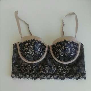 Pleasure state 10B balconette nude and black lace bra
