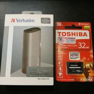 充電器 Verbatim 5200mAh + Toshiba micro SDHC 32GB