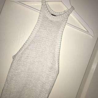 Bardot halter neck knitted top