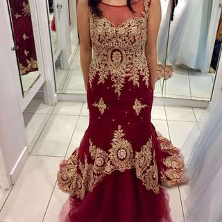 Red and gold illusion neckline mermaid dress -- prom, wedding, formal, debut