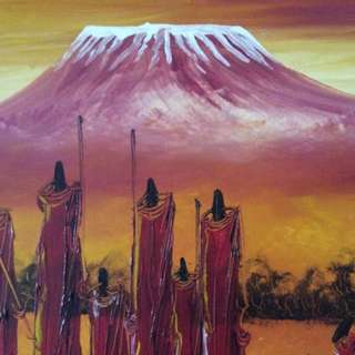 "Oil on Canvas 23""x32"". Marsai tribe Africa"