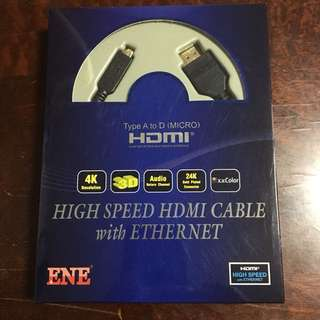 ENE High Speed HDMI Cable with Ethernet - Type A to D (Micro)