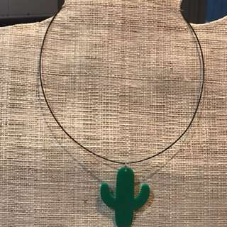 Handmade green cactus necklace