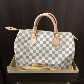 New LV White Speedy 30 白色 Damier Azur