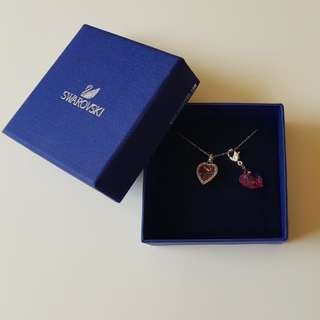 Swarovski pink jewel necklace with pink heart charm