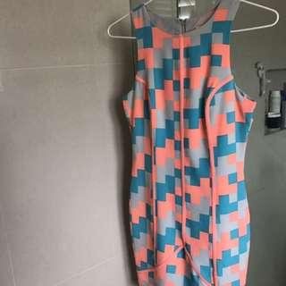 Orange and blue Fluro dress