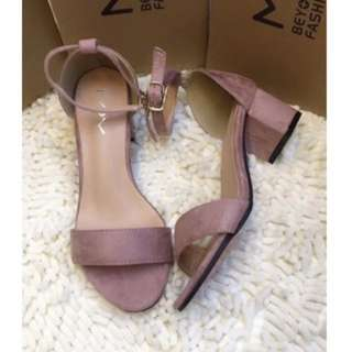 Pink Suede Block Shoes
