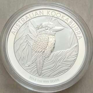 Australia 2014 Kookaburra 1 Dollar 1 oz 0999 Silver Coin