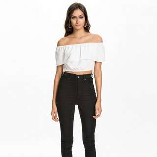 GLAMOROUS Ruffle Off Shoulder Top in White - Size S 8 10 ASOS