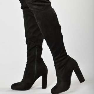 Thigh high boot heels