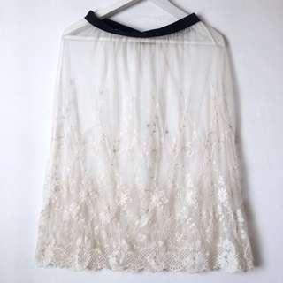 Sheer midi embroidery skirt