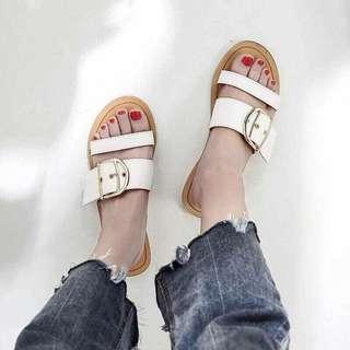 IN' SHOP 金屬釦環平底拖鞋-白