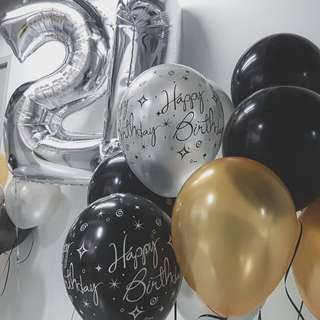 21 number balloon in silver with helium balloon bunch