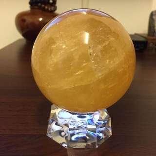 現貨✅天然黃冰洲球 含底座