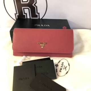 Authentic PRADA Saffiano Leather Wallet in Hot Pink✨