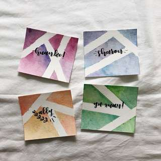watercolour calligraphy valentines day cards