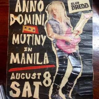 MUTINY IN MANILA & ANNO DOMINI Club Dredd Timog poster circa 1993-94