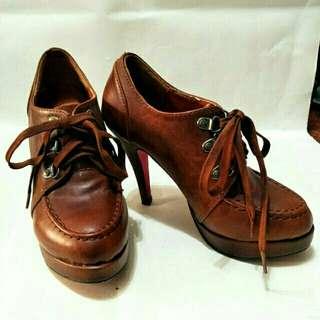 學院復古風高跟靴