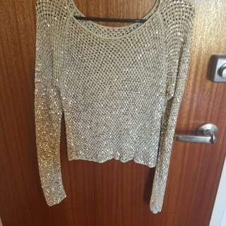 Gold sequined long sleeve crop top