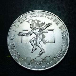 19th Summer Olympics, 1968, Mexico Silver Commemorative Coin Uncirculated