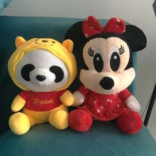 1 for 1: Minnie Mouse & Panda with Winnie the Pooh costume plush toys