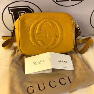 Authentic GUCCI Disco Soho Mustard Crossbody Leather bag✨
