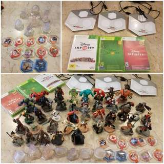 Disney infinity 1.0, 2.0, 3.0 plus power disks, playsets and 40 characters.