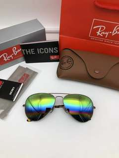Ray Ban 2018年 新款 aviator flash lenses rb3025 58mm size 飛機師款式 七彩虹反光鏡片 獨立鼻托 58-14-135  size rayban brand new full packages original