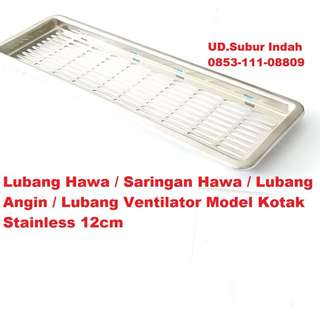 Lubang Hawa-Saringan Hawa-Lubang Angin-Lubang Ventilator Model Kotak Stainless 12cm