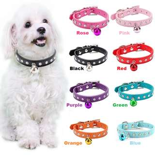 Bling Rhinestone Pet Collar With Bell For Dog's & Cat's