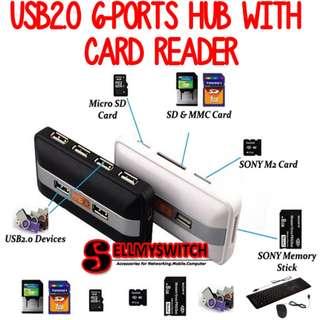 USB2.0 6-ports HUB with SD/MMC/MS/M2 Reader