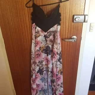 Black and floral dress strapless with strappy sides under arm