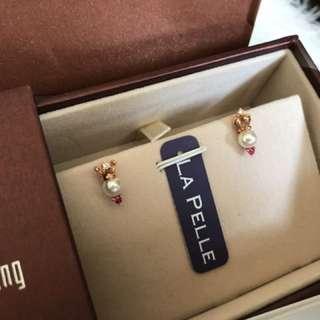 18k rose gold Akoya 粉紅藍寶鑽石耳環
