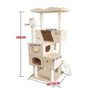 PVC Pole Deluxe 1.8m Wooden Cat Tree With Triple House