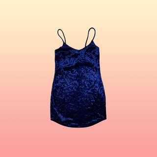 F21 Blue Velvet Slip-On Dress