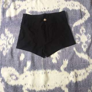 Black Plain Hot Pants