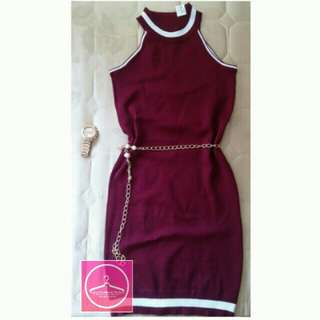KNITTED MAROON BODYCON DRESS