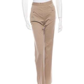 Auth Chanel khaki safari wide legged Sz M pants