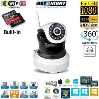 Brand New! 256GB Ouvis Full HD 1080P Wi-Fi IP PTZ CCTV Camera with 2-Way Audio - $55